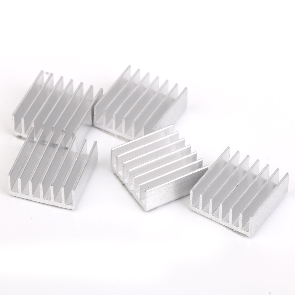 5 x cooler 14 x 14 x 5 mm aluminum radiator grill raspberry pie / for FPGA / For MCU silver