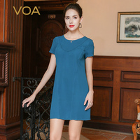VOA Summer Cyan Casual Heavy Silk Office Mini Dress Short Sleeve Plus Size Solid Fashion Simple Women A Line Dresseses A3358