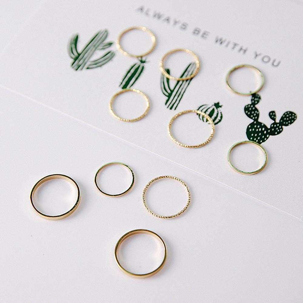 10 ชิ้น/เซ็ตแหวนเกาหลีรุ่นแหวนน้ำไฟท้ายผู้หญิงงานแต่งงาน Boho เรขาคณิตแฟชั่นเครื่องประดับ VINTAGE