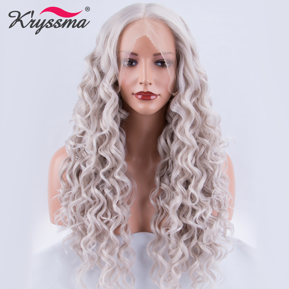 Deep Wave Synthetic Lace Front Wig Silver Grey Long Deep Parting Wigs for Women Glueless ...