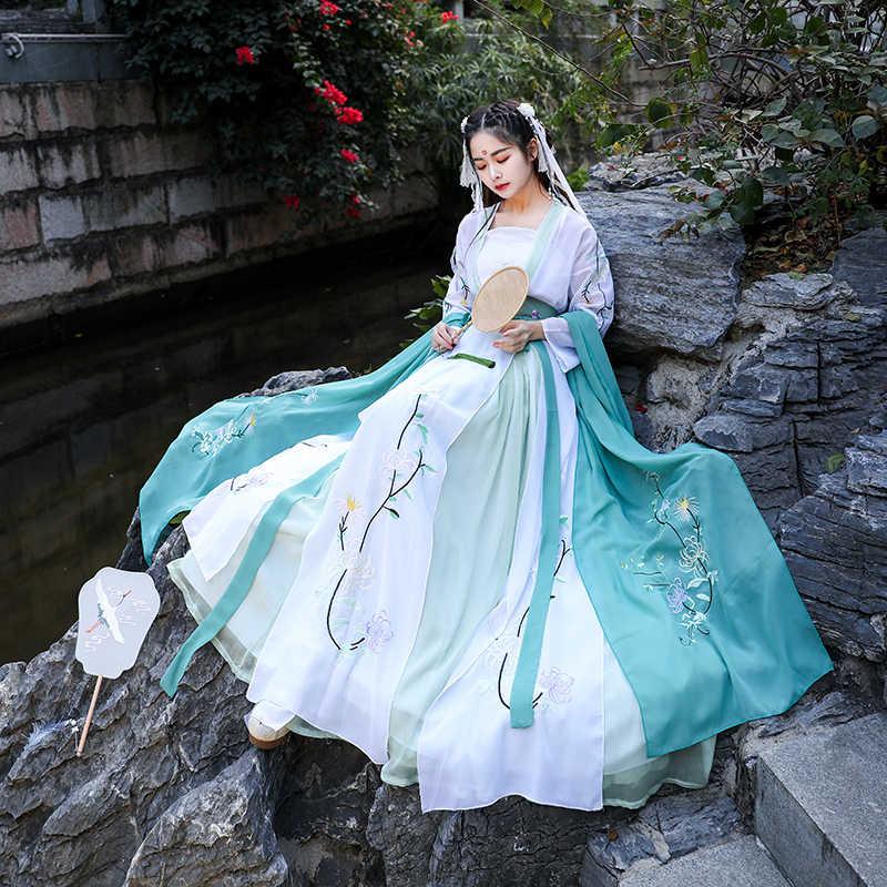 Hanfu Trung Quốc Trang Phục Cổ Truyền Thống Dân Gian Vũ Phù Hợp Với Phụ Nữ Triều Đại Tang Quần Áo Thêu Cổ Tích Cosplay Trang Phục cho Sân Khấu