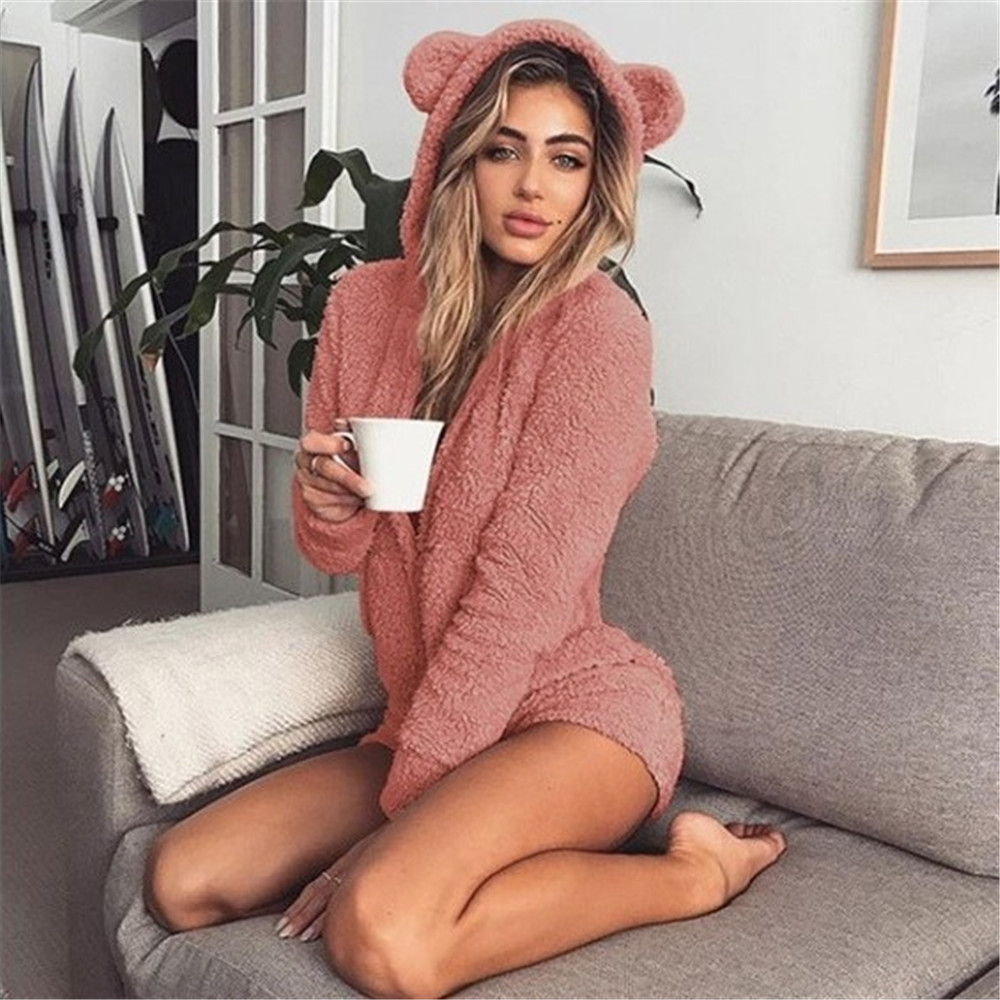 Women Sexy Cute Playsuit Autumn Winter Warm Coral Fleece Velvet Long Sleeve Bodysuit <font><b>Kawaii</b></font> Bear Hooded <font><b>Jumpsuit</b></font> Home Clothes image