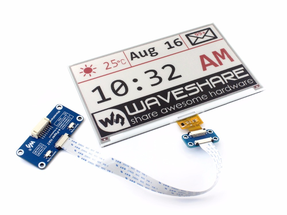 Waveshare 7.5inch E-Paper HAT (B) Display For Raspberry Pi Red Black White Three-color SPI No Backlight Ultra Low Consumption