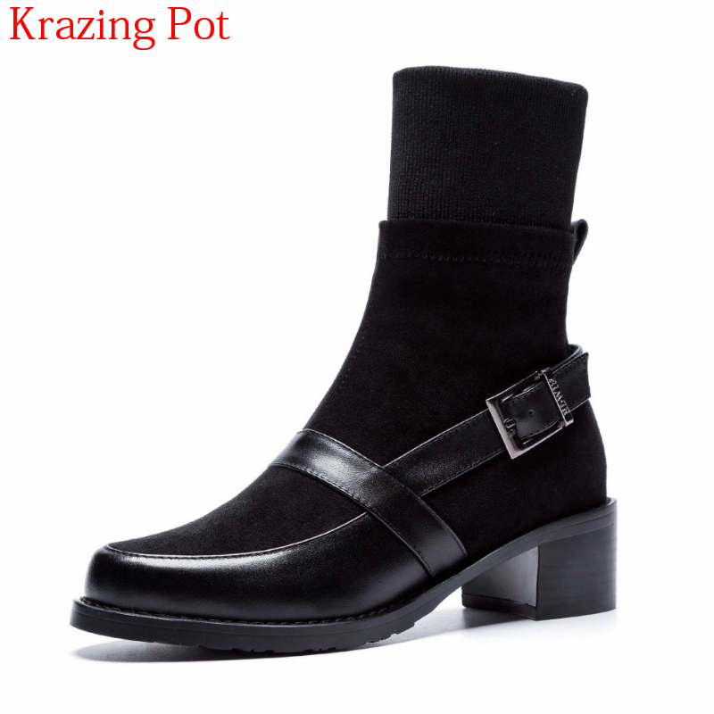 2018 Superstar Cow Leather High Street Fashion Boots Med Heel Round Toe Buckle Runway Women Chelsea Motorcycle Ankle Boots L172018 Superstar Cow Leather High Street Fashion Boots Med Heel Round Toe Buckle Runway Women Chelsea Motorcycle Ankle Boots L17