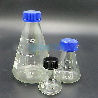 Glass 3000ml Conical Erlenmeyer Narrow Mouth Screw Cap Flask Lab GlasswareGlass 3000ml Conical Erlenmeyer Narrow Mouth Screw Cap Flask Lab Glassware