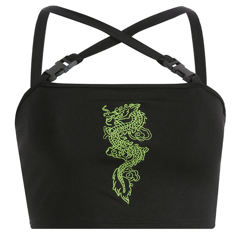 Womens Sexy Chinese Dragon Embroidery Crop Tube   Top   Quick Release Buckle Criss Cross Strappy Vest Sleeveless Camisole Clubwear