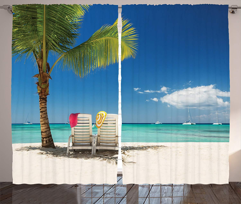 Seaside Decor Curtains 2 Panel Set Relaxing Scene On