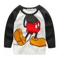Crianças 2016 nova primavera-Coreano de mangas compridas T-shirt do menino dos desenhos animados do bebê da criança camisa