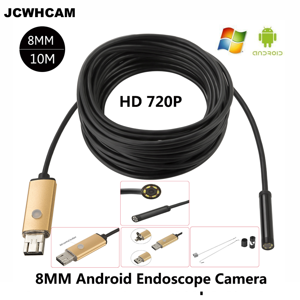 JCWHCAM Endoscope 8mm PC USB Android Endoscopic HD 720P 10M USB Endoscope Camera Tube Inspection 6LED 2IN1 Android CameraJCWHCAM Endoscope 8mm PC USB Android Endoscopic HD 720P 10M USB Endoscope Camera Tube Inspection 6LED 2IN1 Android Camera