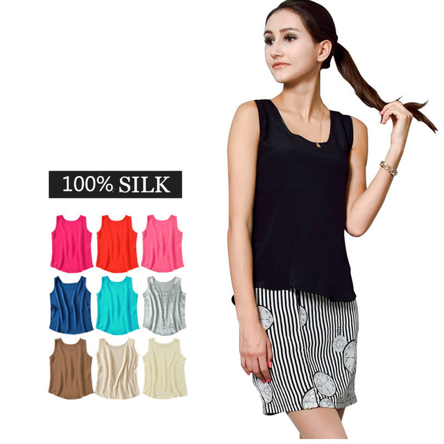 61161c9e8d9a0 Natural Silk T-shirts Women Loose Basic Top 100% Pure Silk Sleeveless Vest  L XL XXL 3XL Colorful Free Shipping