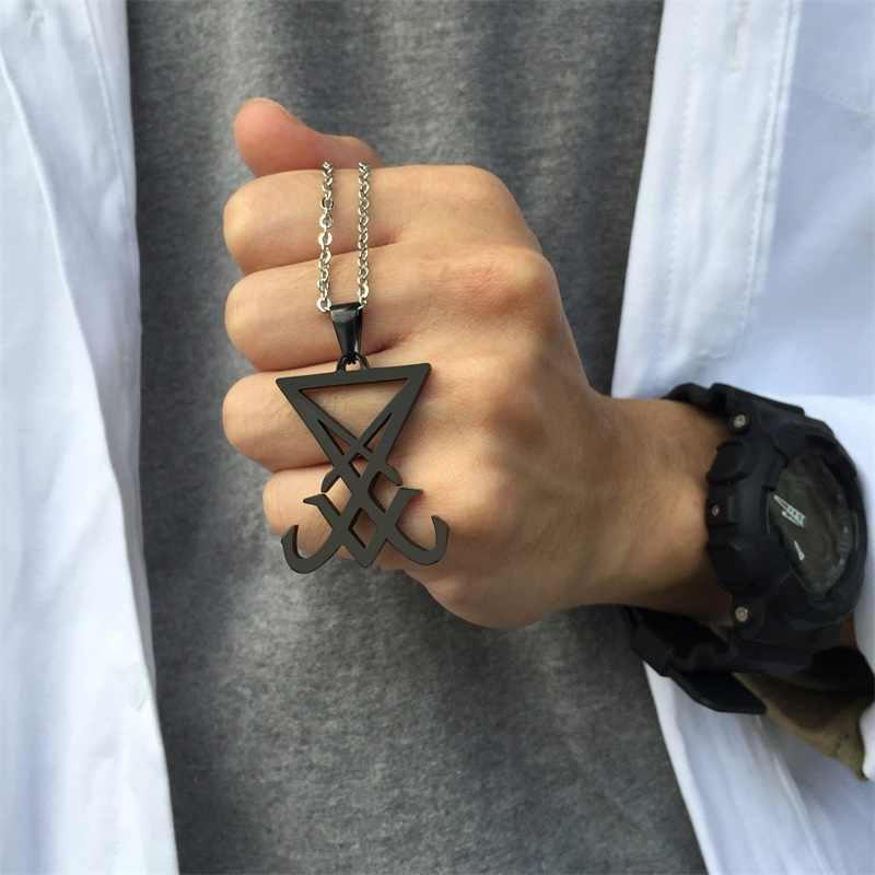 ปีศาจด้านข้างของ Lucifer Satanic เครื่องประดับซีล Sigil สัญลักษณ์ Choronzon สร้อยคอจี้ Black Gothic Pagan ซาตาน Unisex Jewels