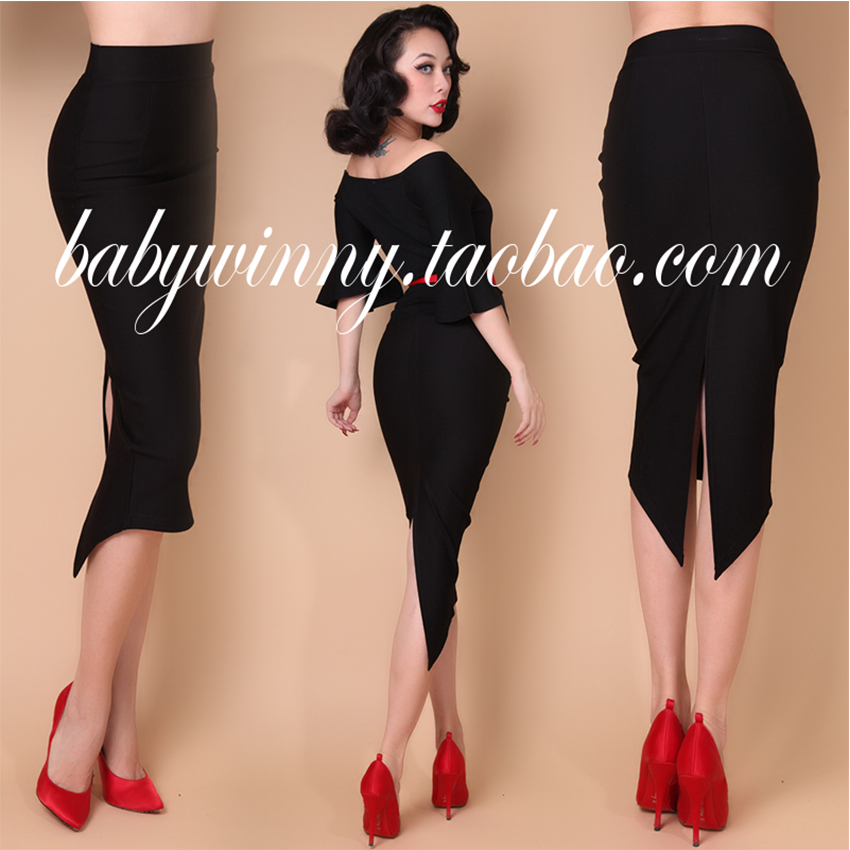 FREE SHIPPING Vintage Elegant All Match Dovetail Package Hip High Waisted Knee Length Sexy Black Pencil