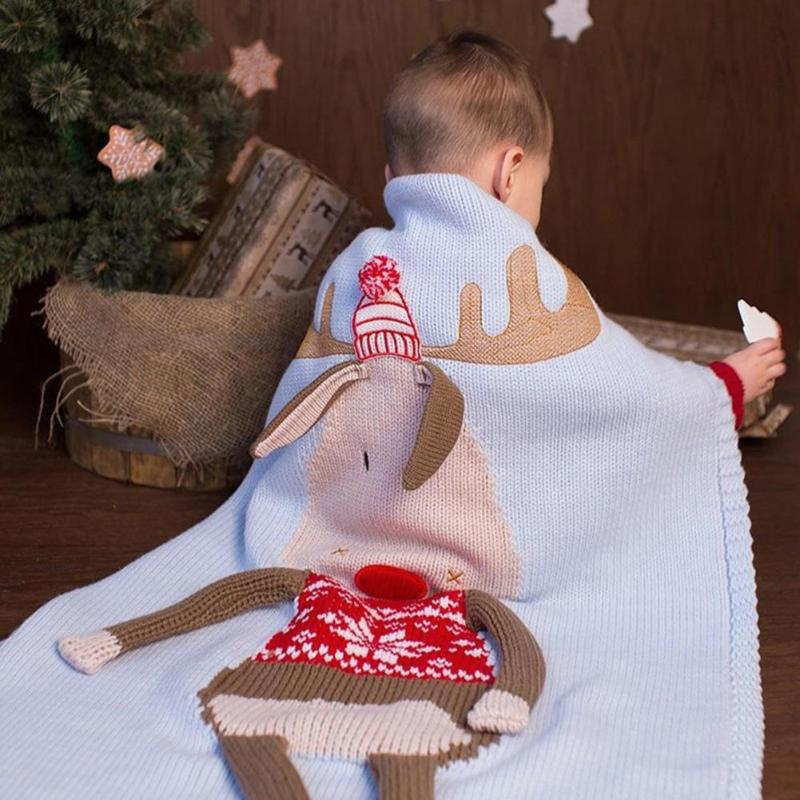 Cute Baby Knitted Blanket Kid Christmas Deer Print Towel Baby Throw Blankets Sofa Bed Car Beach Cushion Warm Children Bath Towel купить недорого в Москве