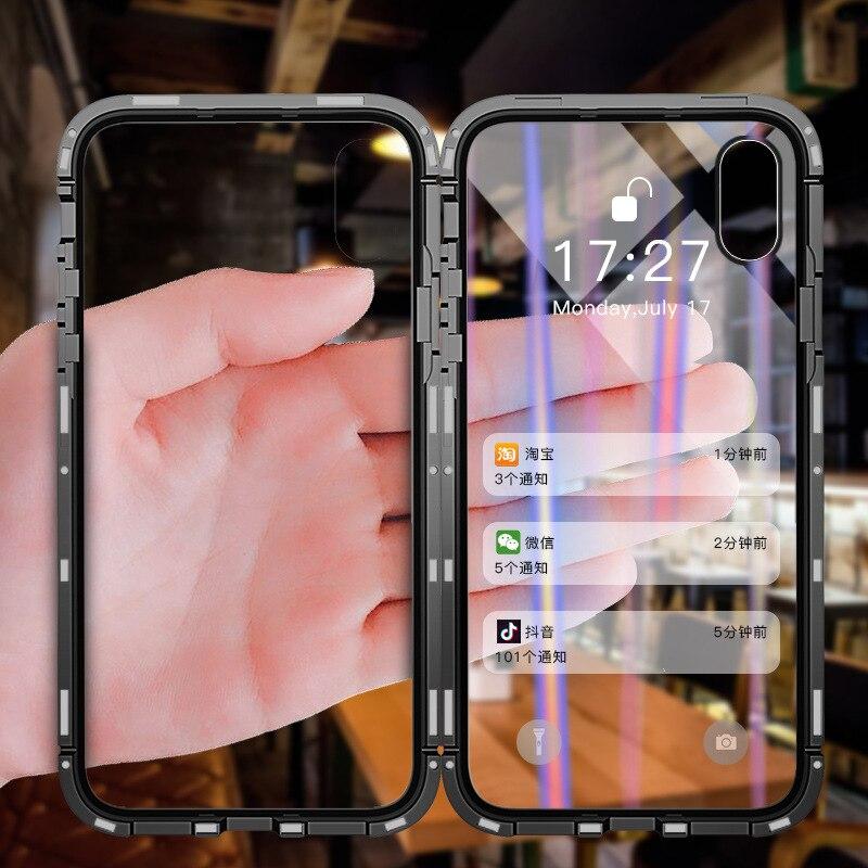 LVTLV Magnetic Flip teléfono caso para el IPhone X 8 7 6 6 s más claro caso de vidrio templado para Samsung glaxy S8 S9 más Nota 8 9