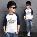 Outono Meninos Camisetas de Algodão Camisetas Para Meninos O Pescoço Completo Manga Casual crianças Roupas Crianças Roupas de Primavera 3 4 6 8 10 12 anos