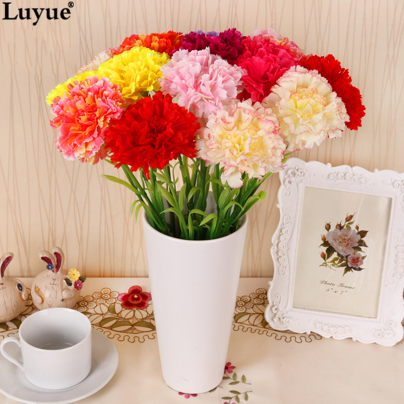 Luyue Official Store Kunstig Carnation Flower Home Decoration Simulation Falsk Silke Kunstige Blomster Mor Festival Day