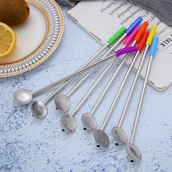50pcs/lot eco-friendly reusable stainless steel drinking straw stirrers with soft silicone tips