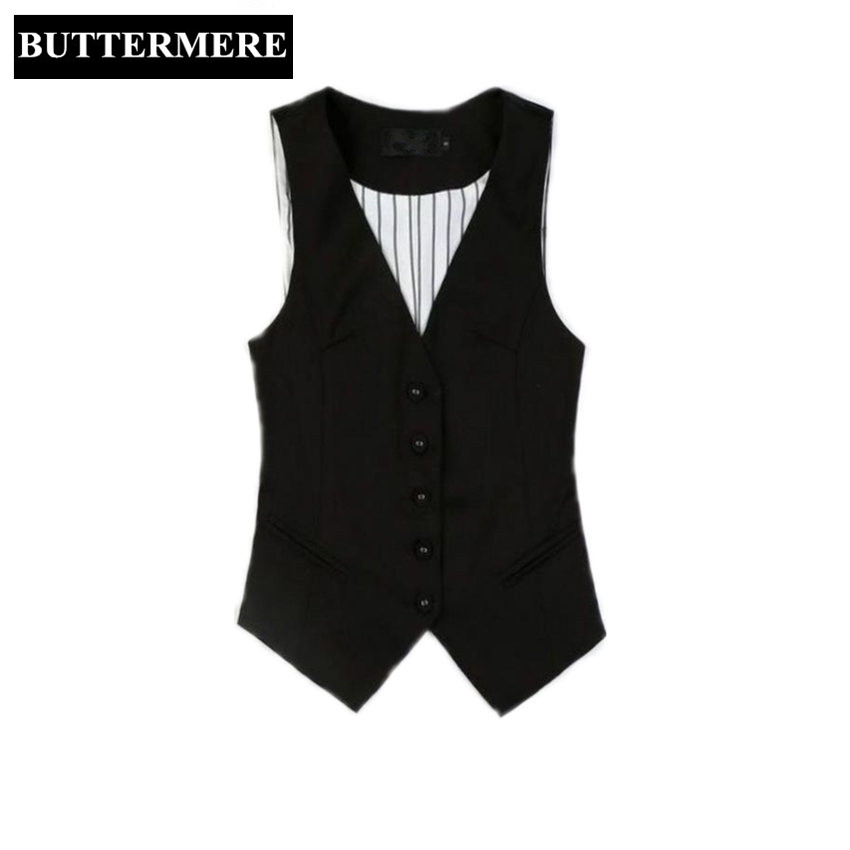 BUTTERMERE Brand Clothing Ladies Vest Tops Black Suit Vests V Neck Waistcoat Women Working Vest Styles Formal Plus Size 3XL