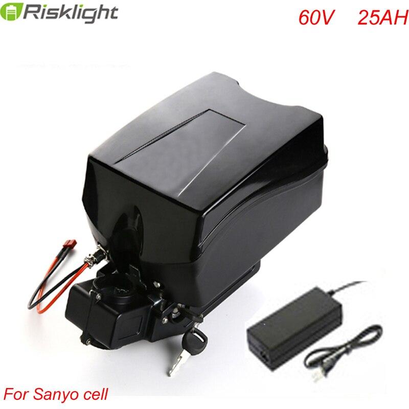 60 v 25ah électrique vélo batterie 60 v 3000 w batterie au lithium avec chargeur et Grenouille cas Pour Sanyo Cellulaire