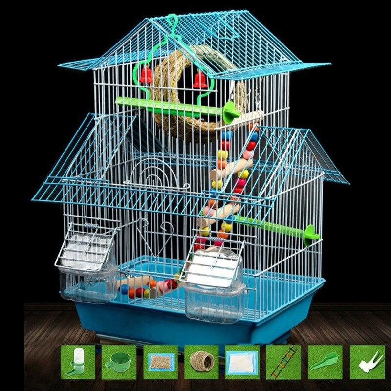 Suministros para mascotas periquito pájaro jaula gran villa jaula Pájaro de Hierro de metal ZP1230944-in Nidos y jaulas para pájaros from Hogar y Mascotas    1