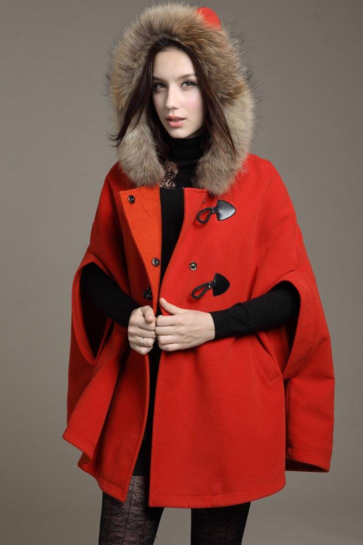 Новинка, женские зимние куртки и пальто размера плюс, Женская Повседневная свободная накидка, рукав летучая мышь, шерсть, меховой воротник, пончо, куртка, плащ, пальто - Цвет: Красный