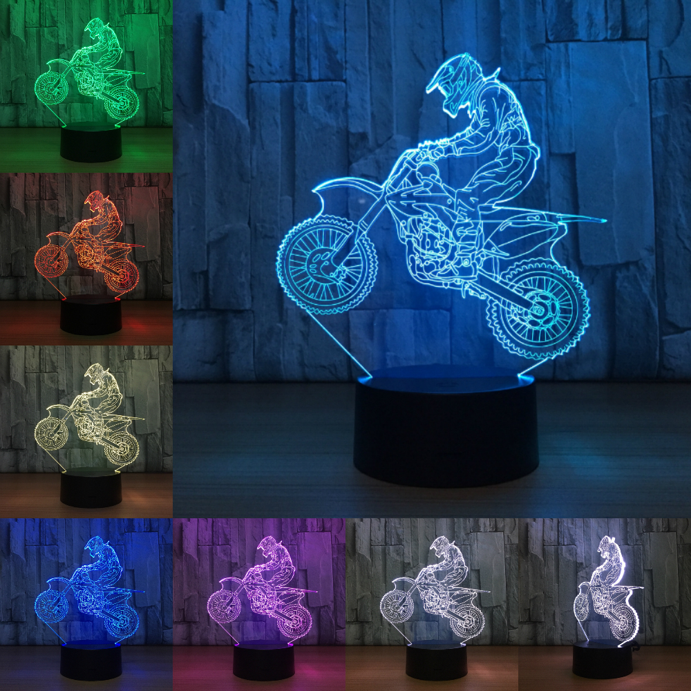 Novelty 3D Table Lamp Motocross Bike Night Lights LED USB 7 Colors Sensor Desk Lamp as Holiday Gifts Cool Athlete Sport Lovers usb novelty gifts 7 colors changing animal horse led night lights 3d led desk table lamp as home decoration