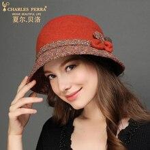 Charles Perra Brand Women Hat Autumn Winter Female Fashion Hats Elegant Lady Wool Cap Classic Warm Fedoras Corros Corro 5216