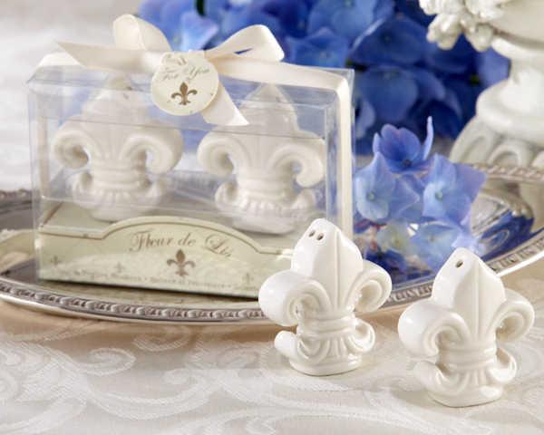 """โรงงาน Fast การจัดส่งงานแต่งงาน """"fleur - de - lis"""" งาช้างสีขาวเซรามิค Salt & Pepper Shakers (1 ชุด = 2 ชิ้น) ขายส่ง"""