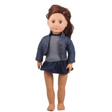 Clothes For Dolls 3IN1 18inch Girl Doll Outfits Jean Coat + Black White Stripes T-shirt + Navy Blue Tutu Skirt(China)