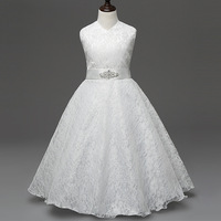 Kids Dress Lace Bow Wedding Party Flower Bridesmaid Dresses For Girls Teenage Ball Gowns Princess Costume