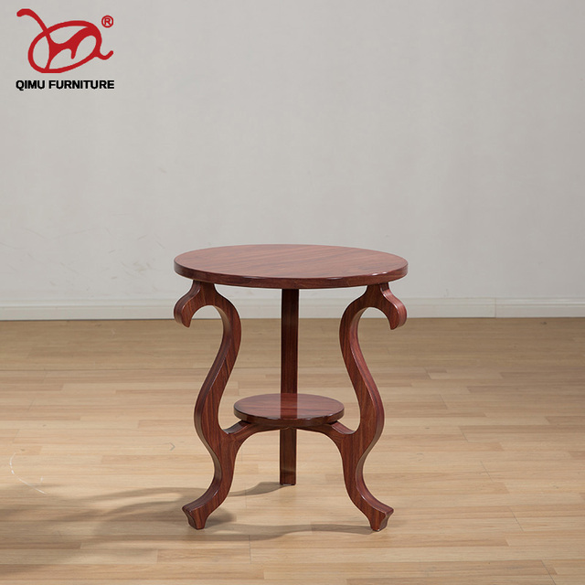 Self Contained Solid Wood Tea Table Antique Old Furniture Round Wooden End Suitable For