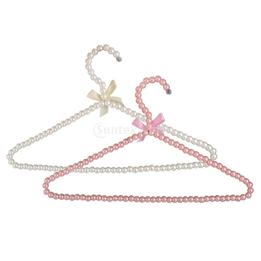 SUNTEK White Plastic Pearl Bow Clothes Hangers Hook Rack for Adults 39cm