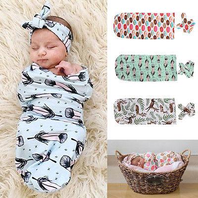 2st kostym !! Söt nyfödd babytäcke Swaddle Sovväska + Hårband Sleepsack Barnvagn Wrap Outwear