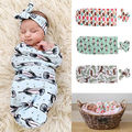 2pcs suit !! Cute Newborn Baby Blanket Swaddle Sleeping Bag +Hairband Sleepsack Stroller Wrap Outwear