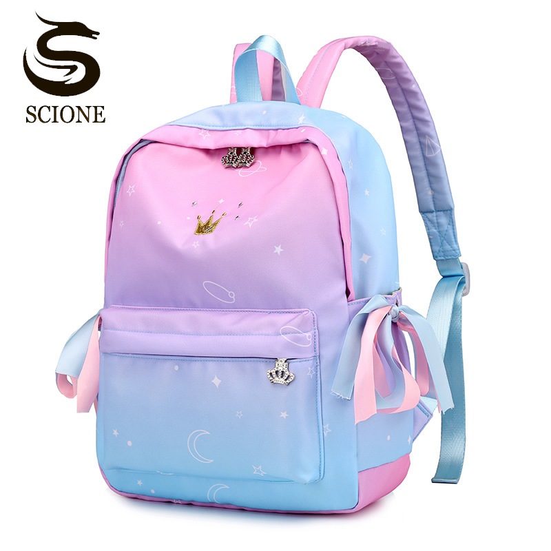 Scione Women Backpacks School Children Schoolbags For Girls Primary School Bag Pink Gradient Backpack Student Bookbag