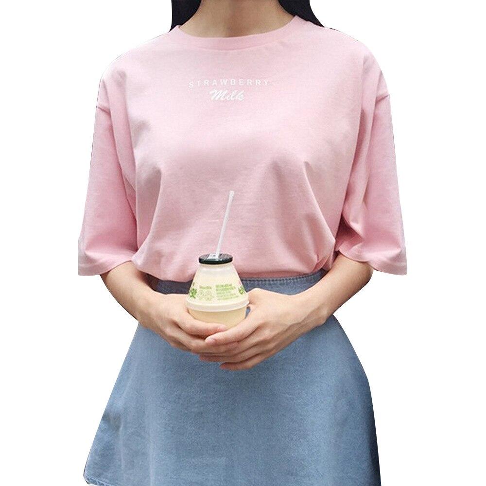 Sommer Stil 2018 t-shirts Baumwolle Frauen Banana Erdbeere Milch Buchstaben Druck Süßen Tops T-stück Beiläufige Kurzarm Camiseta Mujer