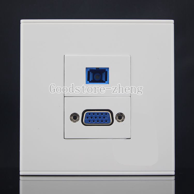 Wall Face Plate 2 Ports Fiber Optical SC Coupler Connector + VGA Jack Faceplate