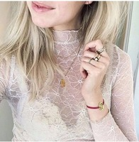 Luxurious Sexy Desirella Top Lace Perspective Light Elastic Women T Shirts Long Sleeve High Neck Black and Beige