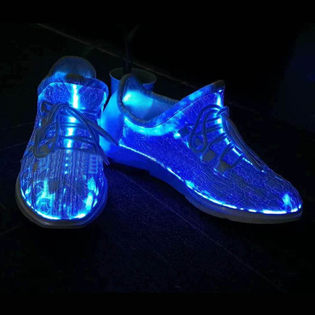 OUTAD LED Luminous Running Shoes Unisex Sneakers Lace Colorful Glowing Shoes for