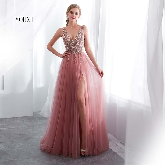 Beading Evening Dress 2020 V-Neck Pink High Split Tulle Sweep Train Sleeveless Prom Gown A-line Lace Up Backless Vestido De 3