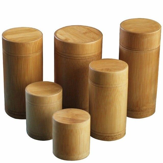 Caja de té hecha a mano caja de almacenamiento de bambú recipiente de té tapa sello de cocina tarros de almacenamiento accesorios caja de especias organizador al por mayor