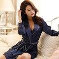 2017 Primavera Verano Otoño Las Mujeres de Satén de Seda China Clásica Túnica Femenina Albornoz Dama Camisón Chica Pijamas y Ropa de Dormir