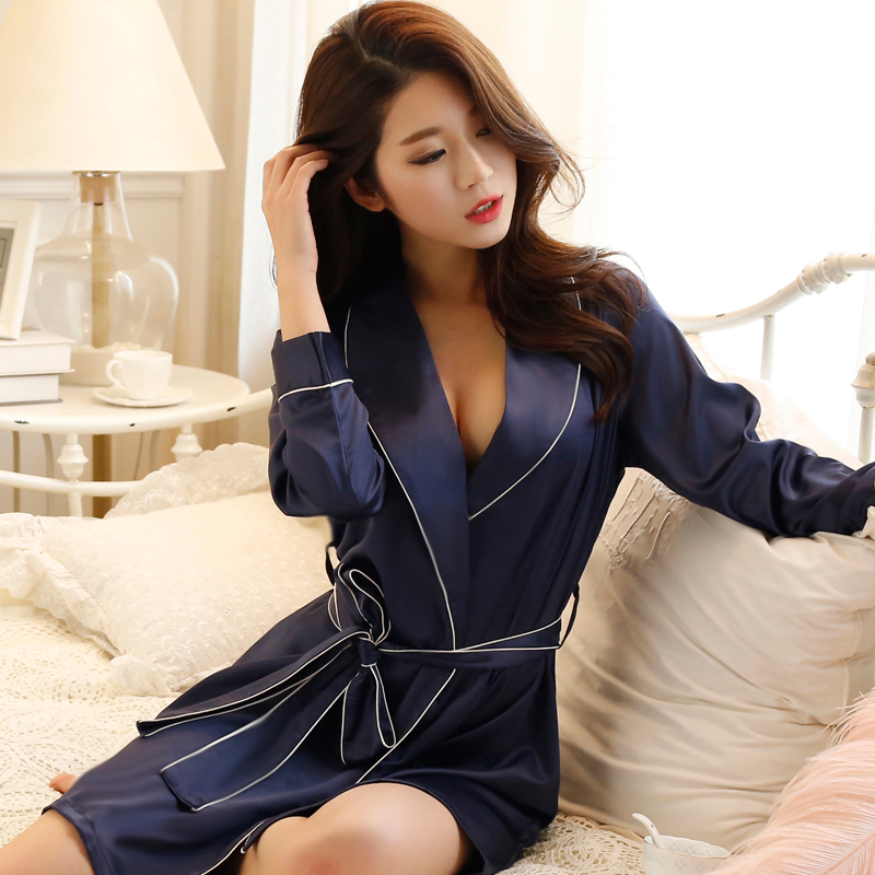 Thoshine 2019 Spring Summer Autumn Women Chinese Satin Silk Robe Female Classical -8349