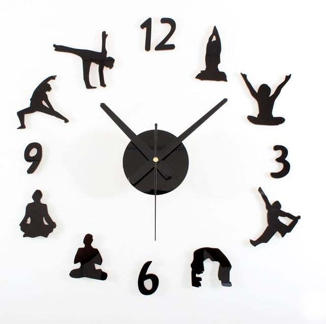 Sport Gymnastik Mute Startseite Wohnzimmer Wanduhren Yoga Typ Uhren Diy Quarz Mode Bar Wand Leise