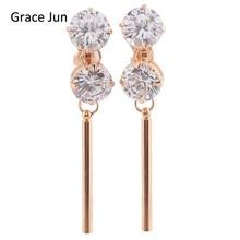Grace Jun(TM) 2017 New Design Stick Bar Shape Cubic Zirconia Clip on Earirngs Without Piercing for Women Gold Copper Earrings