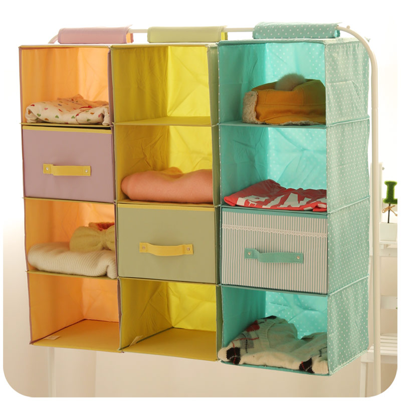 New Non Woven Fabric Folding Underwear Storage Box Bedroom: Hanging Closet Organizers From China