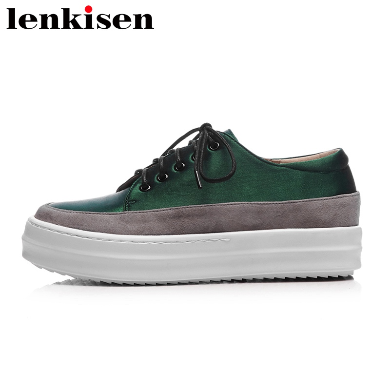 Lenkisen 2018 big size silk round toe lace up platform causal shoes med heel increased runway elegant women vulcanized shoes L86