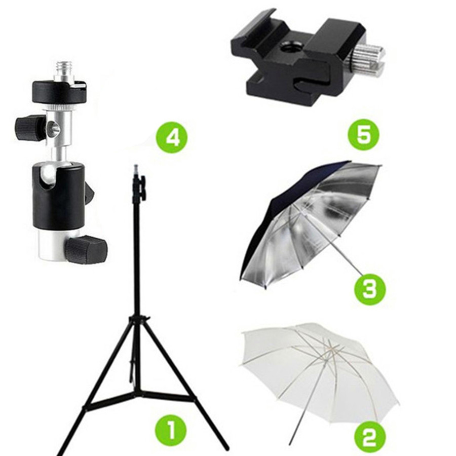 5in1 Kit 2m Studio Light Stand Tripod Swivel Flash Holder Mount 33 inch Softbox Soft and