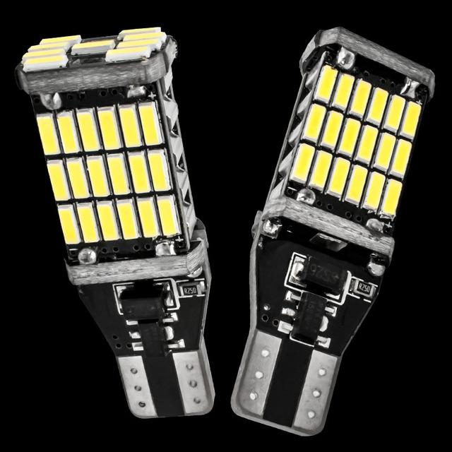 2PCS T15 921 W16W 45 SMD 4014 LED Auto Additional Lamp CANBUS NO ERROR Reverse Lights Car Daytime Running Light White DC 12V 2X