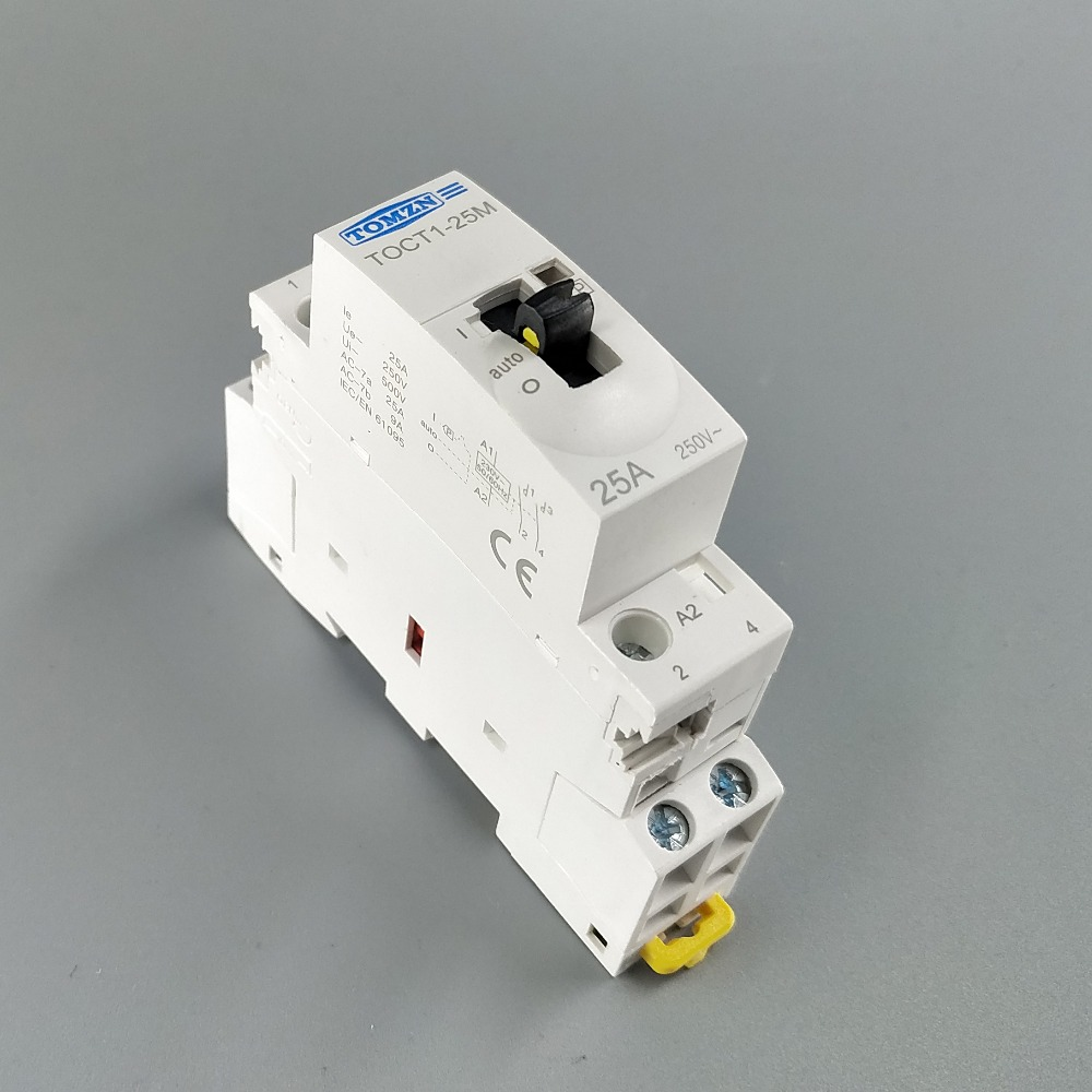 TOCT1 2P 25A 220V/230V 50/60HZ Din rail Household ac Modular contactor with Manual Control Switch 2NO or 1NO 1NC or 2NCTOCT1 2P 25A 220V/230V 50/60HZ Din rail Household ac Modular contactor with Manual Control Switch 2NO or 1NO 1NC or 2NC